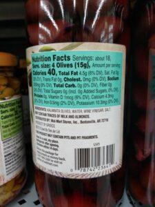 Great Value Greek Kalamata Olives label