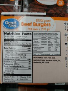 Great Value 100% pure Beef Burgers label