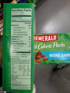 Emerald 100 Calorie Packs of Natural Almonds label