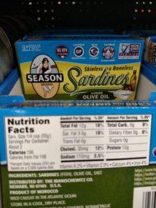 Season Brand Sardines; in olive oil or water label