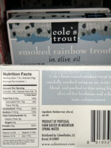 Cole's Trout Smoked Rainbow Trout in olive oil with label