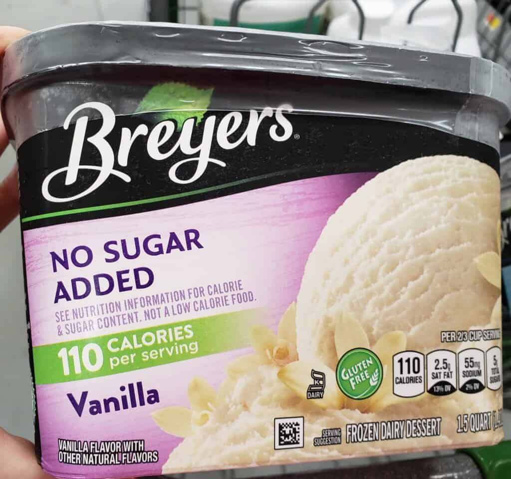 Breyers no sugar added vanilla ice cream
