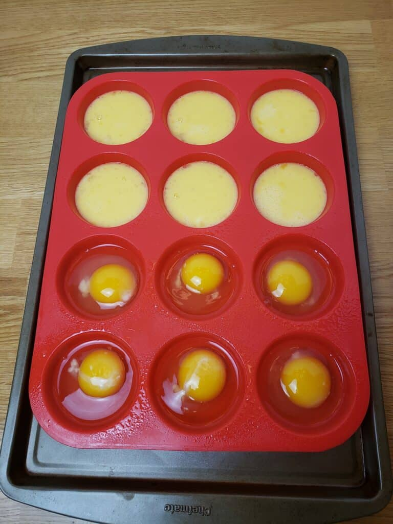 dozen eggs in muffin pan