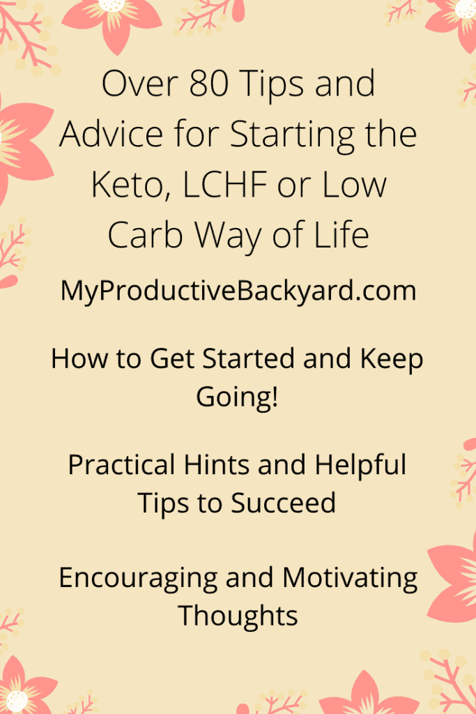 Over 80 Tips and Advice for Starting the Keto LCHF or Low Carb Way of Life Pinterest pin