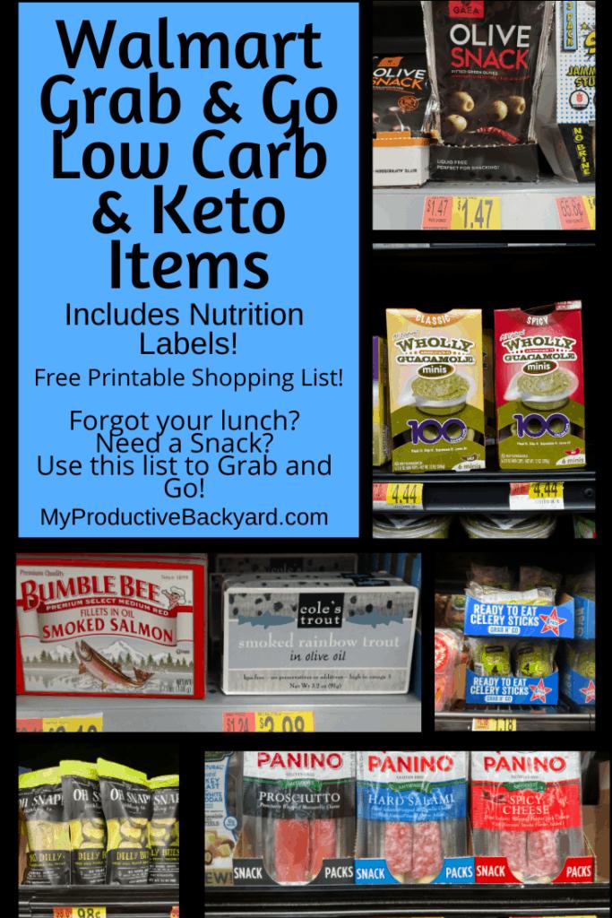 Walmart Grab & Go Low Carb & Keto Items Pinterest pin
