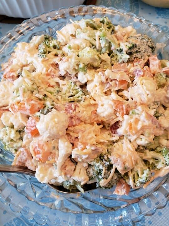 Creamy Broccoli Cauliflower Salad