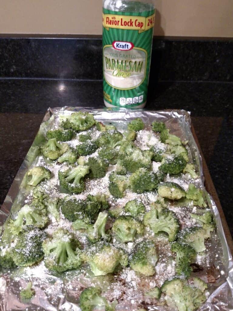 roasted parmesan broccoli on baking sheet