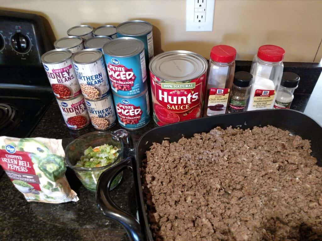 ingredients for Big Batch Homemade Chili