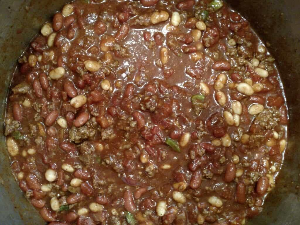 Big Batch Homemade Chili in pot on stove