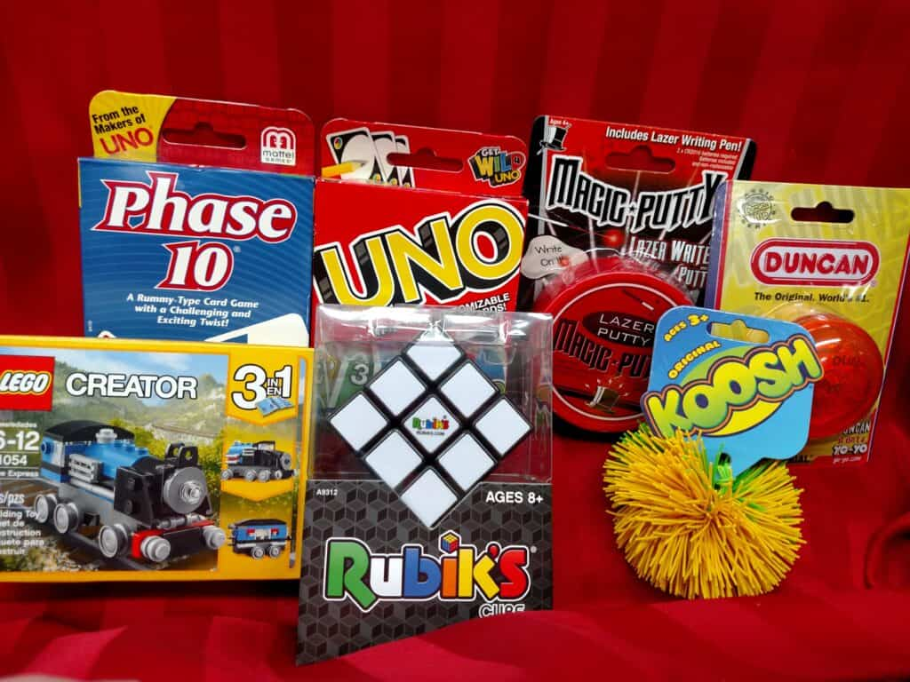 Lego creator set, card games, rubik's cube, silly putty, koosh ball, yo-yo