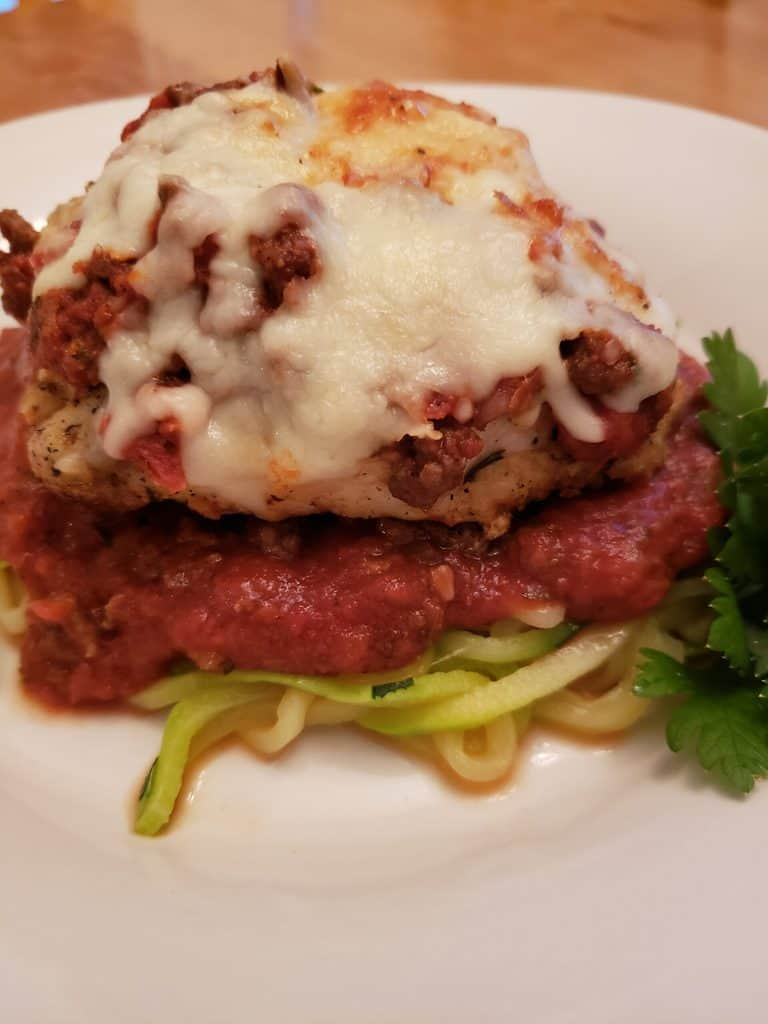 Keto Parmesan Chicken over Zoodles