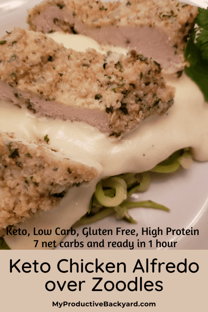 Keto Chicken Alfredo over Zoodles Pinterest pin