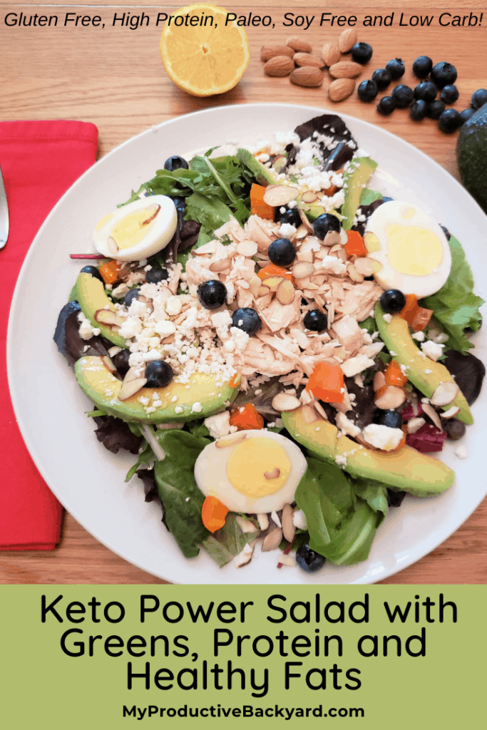 Keto Power Salad with Greens, Protein and Healthy Fats Pinterest pin