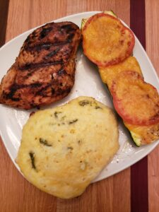 Coconut Buttermilk Southwestern Chicken with cheesy zucchini boats and low carb jalapeno biscuits