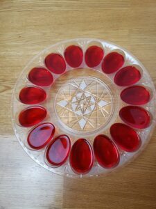 red jello in deviled egg mold