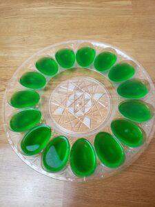 green jello in deviled egg mold