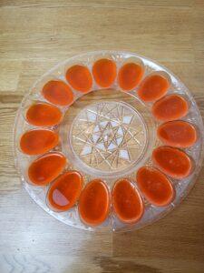orange jello in deviled egg mold