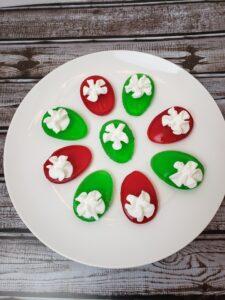 Christmas Sugar Free Deviled Jell-O Eggs on white plate
