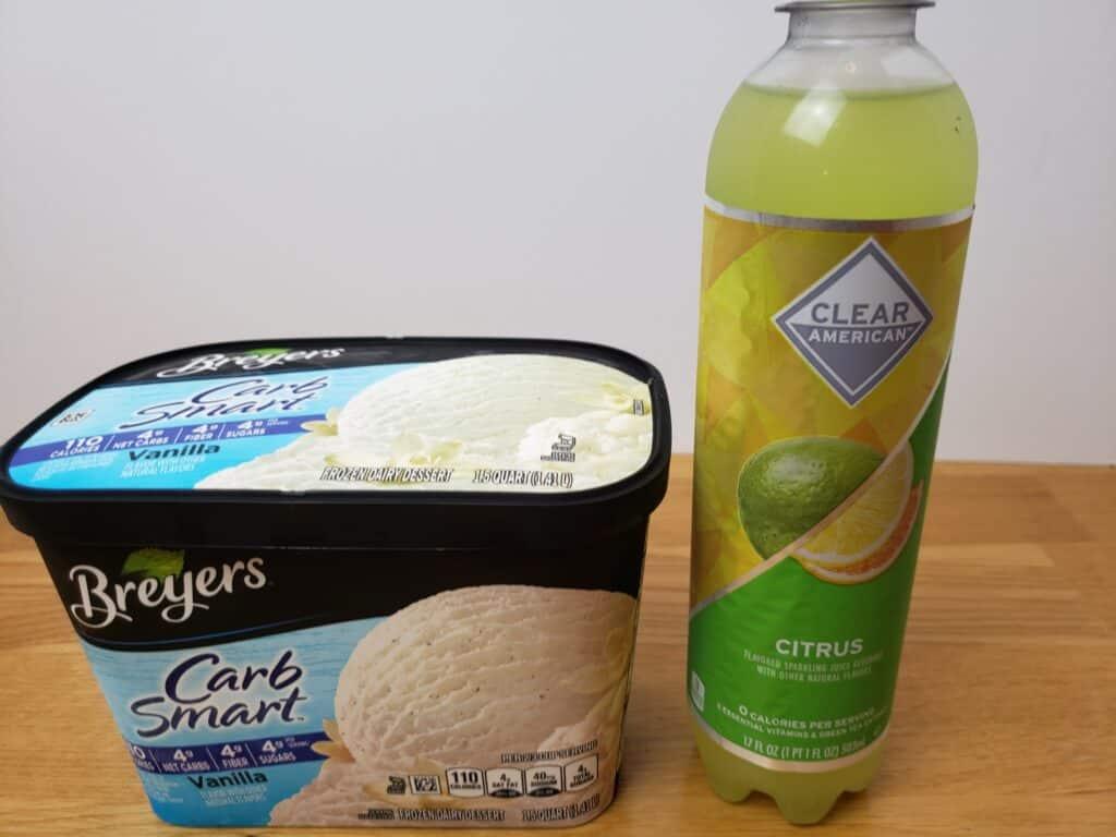 citrus ICE drink and breyers carb smart vanilla ice cream
